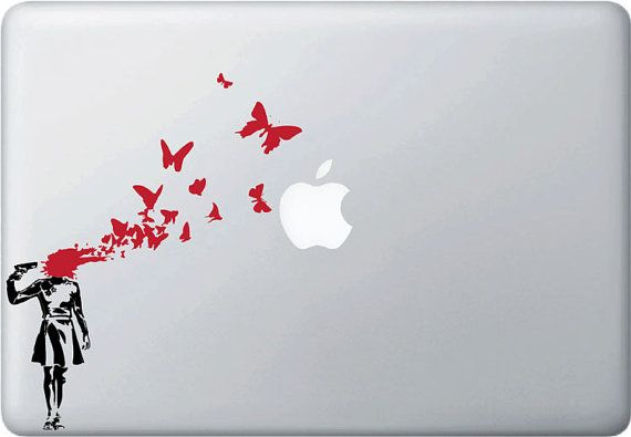 MB  Banksy Style  Suicide Butterflies Laptop Decal  2 by Geekals