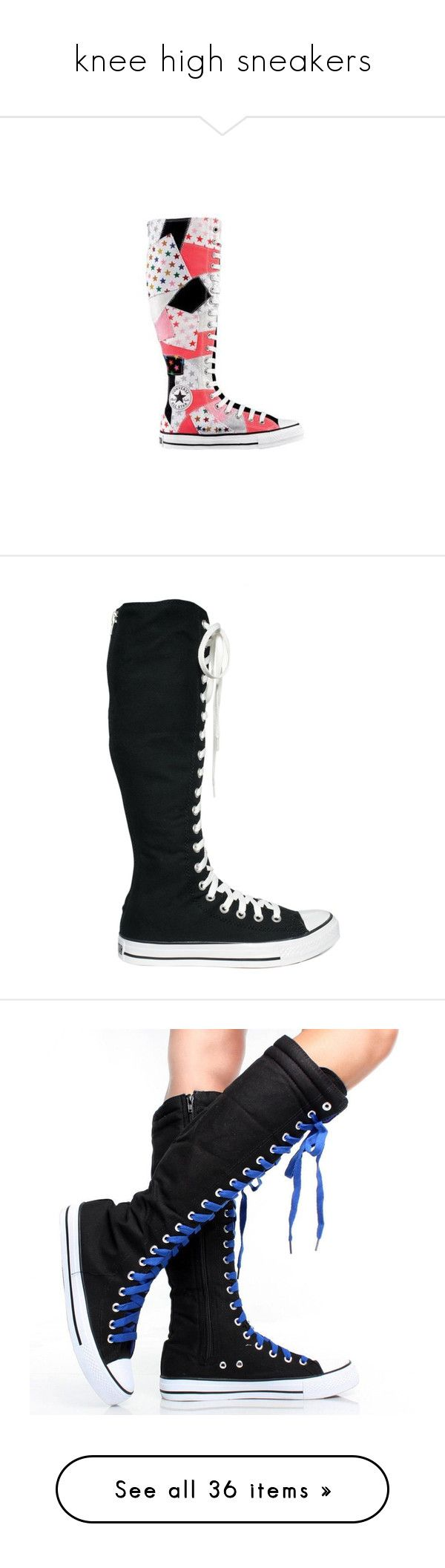 """""""knee high sneakers"""" by wolfpanda ❤ liked on Polyvore featuring shoes, sneakers, converse, boots, converse shoes, converse sneakers, converse trainers, converse footwear, lacy shoes and lace shoes"""