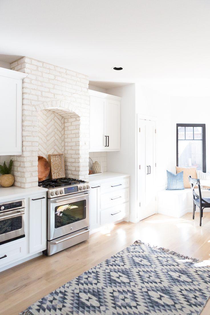 Tulsa Remodel Reveal Modern White Farmhouse with Black Windows and Doors white brick kitchen using brick in a kitchen brick kitchen hood brick kitchen ... & Tulsa Remodel Reveal Modern White Farmhouse | Kitchen Ideas - Decor ...