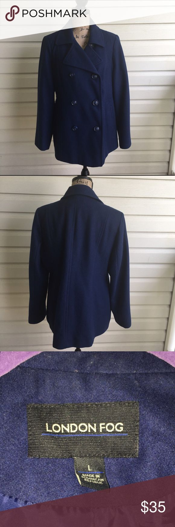 London Fog Navy Pea Coat Beautiful navy color Pea Coat. In excellent condition from London Fog. Size Large. I'm a speedy shipper and we have a smoke free home! Measurements upon request. I'm always open to reasonable offers. London Fog Jackets & Coats Pea Coats