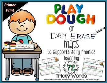 "72 Mats that support Jolly Phonics teaching. Once laminated the mats are used with Playdough or Dry Erase Markers to practice writing and spelling the 72 Tricky Words!The top of each mat contains the word in a traceable font. There is a sentence containing the word along with a matching picture. The center of the mat has the word in a large outline format in PRIMER PRINT FONT - displayed on colored ruled lines showing the ""sky, fence, grass, ground""."