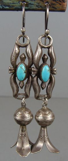 Awesome VINTAGE NAVAJO Turquoise Silver Sand Cast Squash Blossom Earrings