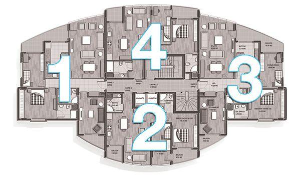 DAİRE 1 & 3 KAT PLANI 3+1 Brüt: 140 m2 Salon : 30,40 m2  Çocuk Odası : 10,60 m2 Mutfak : 12,10 m2  Oturm...