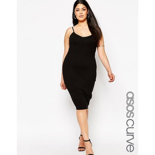 ASOS CURVE Cami Midi Bodycon Dress ($19) ❤ liked on Polyvore featuring dresses, black, plus size, v neck jersey, body con dresses, midi dress, plus size cami and v neck dress