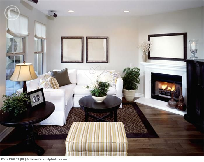 Living Room With Corner Fireplace   Love The Wood Floors And Simple Decor
