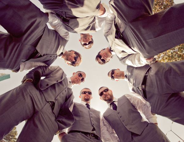 Groomsmen.  Definitely having this. I have a photo from all my guys friends at homecoming doing this, would be cute to do it with future guy friends-people.