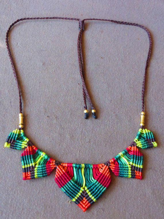 macramogly colorful necklace by MacraMogly on Etsy