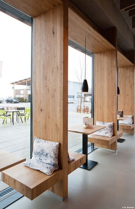 love how the cafe tables are built in with the windows caf treiber steinenbronn germany architekturstudio fischer