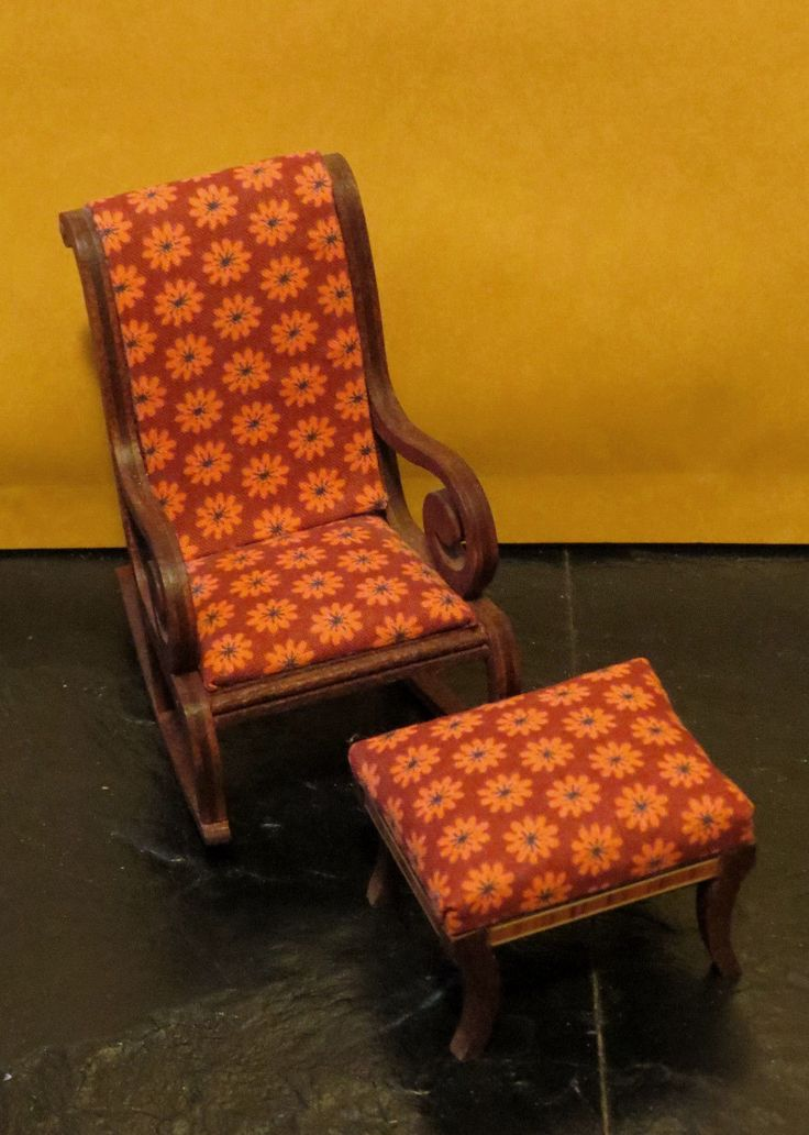 Vintage Lynnfield Dollhouse Miniature Rocking Chair and Matching Footstool   eBay