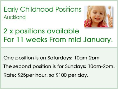 Check out the following job opportunity  Which may suit a Playcentre person Auckland