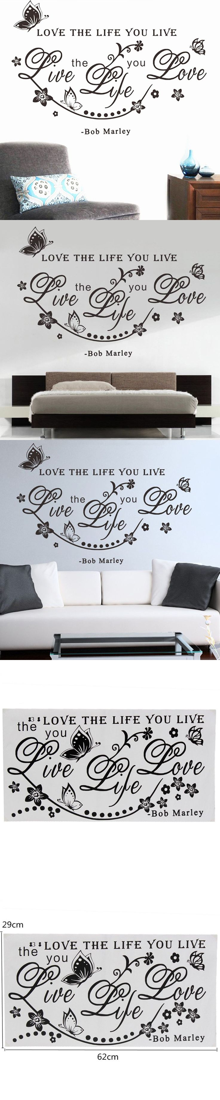2pcs/lot Removable Wall Stickers Famous U0026 Inspirational Quote Decal Art  Vinyl Butterfly Wall Sticker Home Decor Size 29 X 62cm