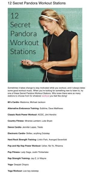 The best secret Pandora stations for working out!! by claudette