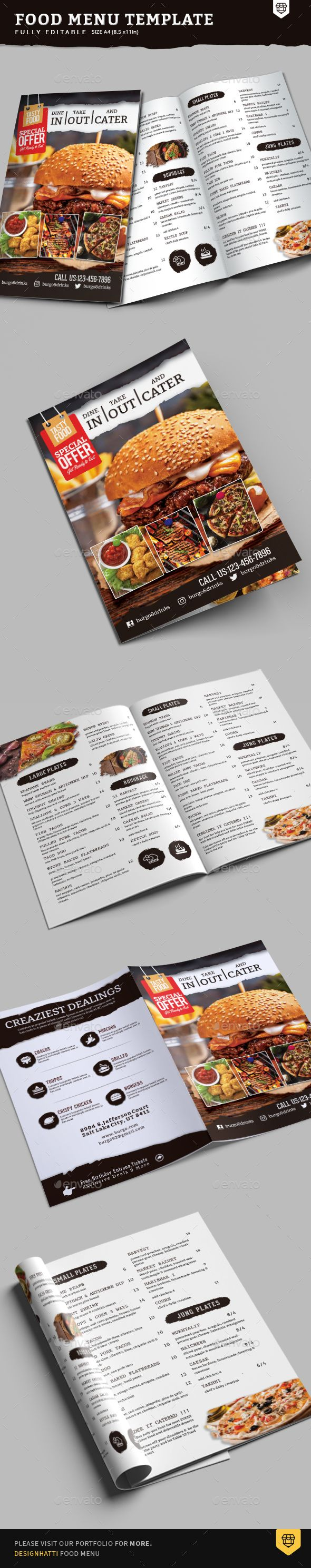 A4 BiFold Food Menu Template — Photoshop PSD #poster #bi fold • Available here ➝ https://graphicriver.net/item/a4-bifold-food-menu-template/20823707?ref=pxcr