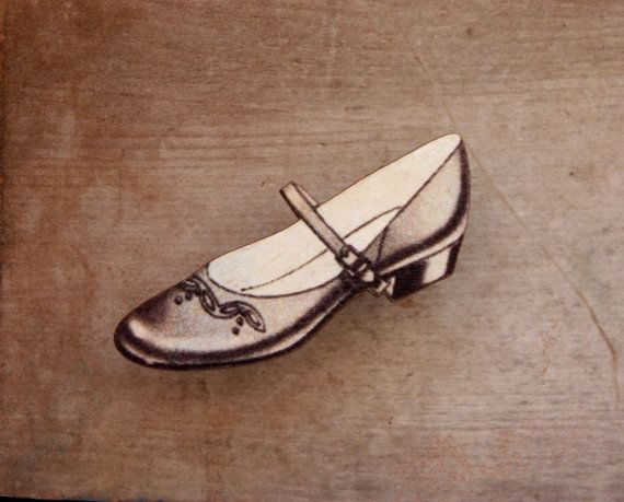 Grey Shoe Brooch Wooden Shoe Brooch Mary Jane by trees4thewood