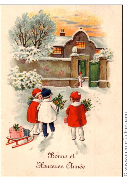 Carte Trois enfants et leur luge pour envoyer par La Poste, sur Merci-Facteur !