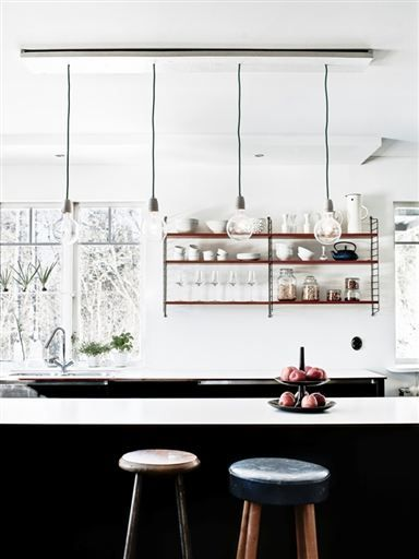 String Lights Interior Design : Black and white and copper // kitchen Interior + Design Pinterest Kitchens, String Shelf ...