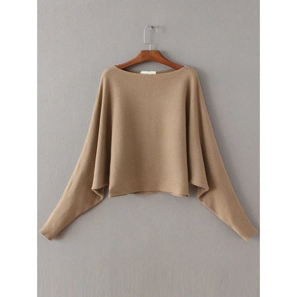 Camel Boat Neck Batwing Sleeve Knitwear (3290 RSD) ❤ liked on Polyvore featuring tops, sweaters, bateau neck sweater, loose fitting sweaters, brown sweater, loose tops and loose sweater