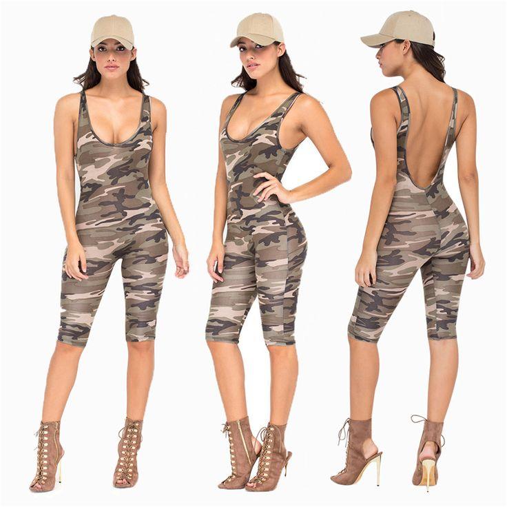 Kamuflase Overall Jumpsuit Sexy Bodysuit Backless Rompers Womens Bodycon Pakaian Bermain Overall Untuk Wanita Ditambah Combinaison Femme