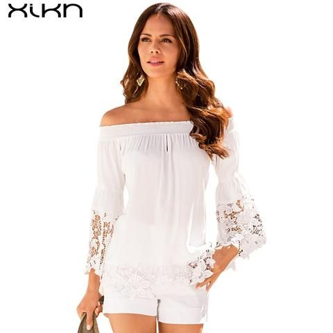 White Lace Chiffon Blouse Shirt Off Shoulder Women Blouses Shirts 2017 Summer Remeras mujer Femme Tops Blusas 2 color AG121