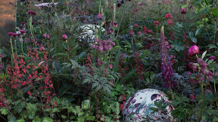 Moorcroft pottery globe in Positively Stoke-on-Trent Garden at 2014 RHS Chelsea Flower Show  www.bartholomewlandscaping.com