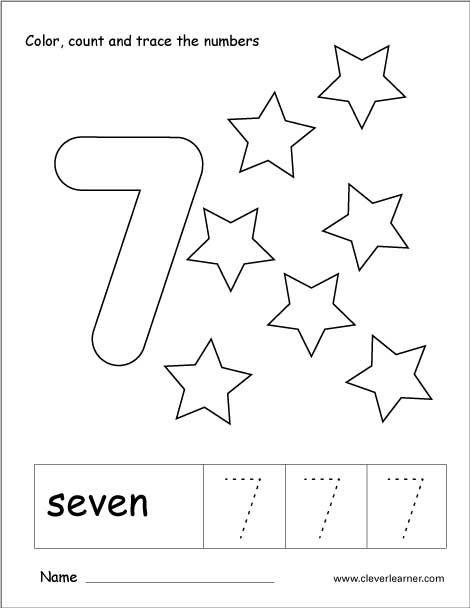 number 7 tracing and colouring worksheet for kindergarten 10 numbers preschool. Black Bedroom Furniture Sets. Home Design Ideas