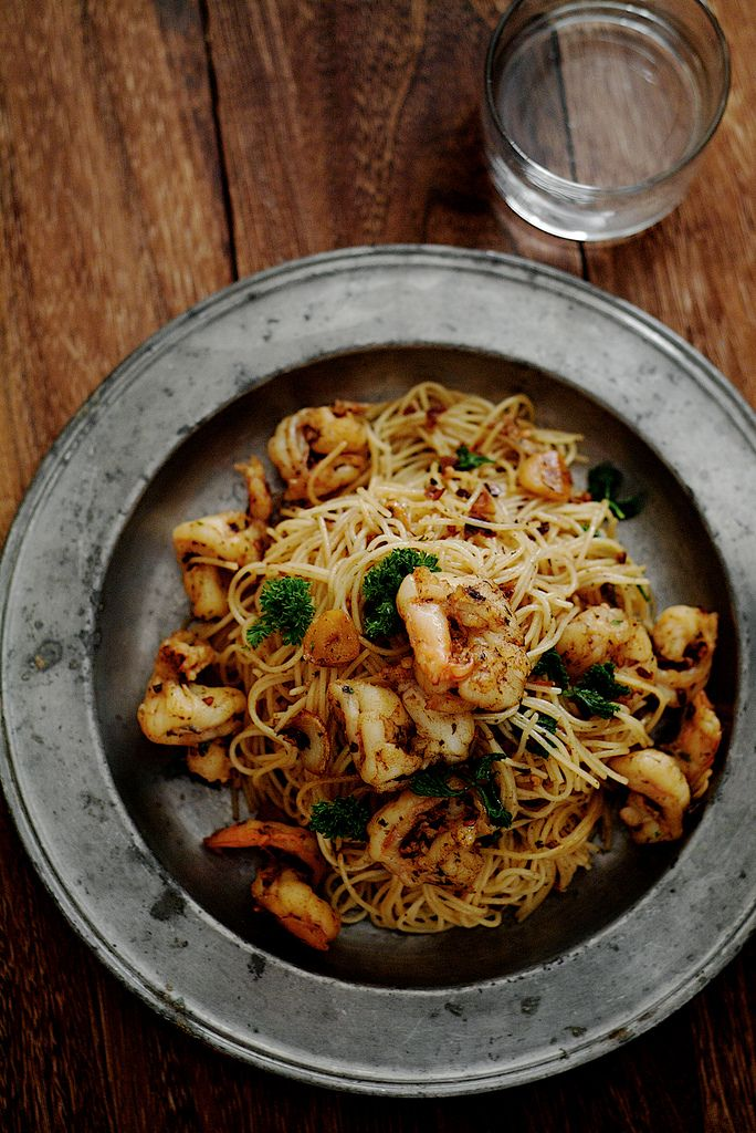 garlic prawn pasta..yum! Remember to use whole wheat angel hair... might use chicken instead of prawn (shrimp)