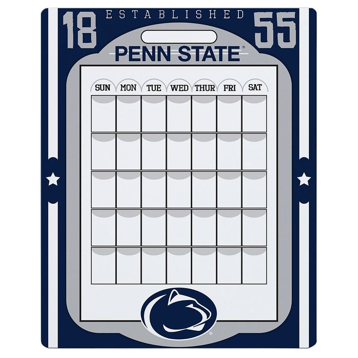 Penn State Nittany Lions Dry Erase Calendar, Multicolor