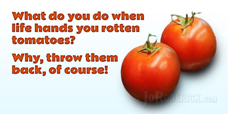 Quote 136: What do you do when life hands you rotten tomatoes? Why, throw them back, of course!  #Quote #Humour #SocialMedia