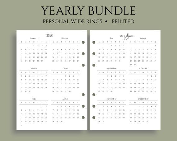Yearly Calendar Bundle 2020 And 2021 Year At A Glance Dates To