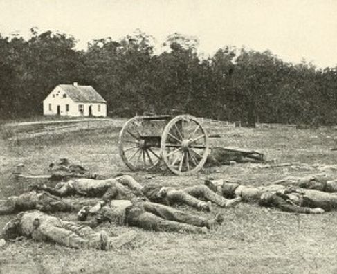 Dead Confederate artillerymen photographed by Alexander Gardner in front of Dunker Church at the Battle of Antietam in Sept, 1862. #civilwar #antietam