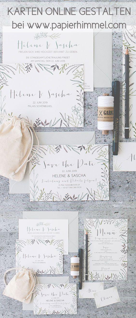#hochzeitseinladungen von www.papierhimmel.com #einladungen, #hochzeit, #hochzeitskarten, #weddingstationery #weddinginvite #weddinginvitations #modern #design #grün #blätter #papeterie