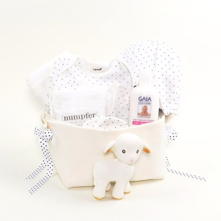 Welcome Home Luxury Baby Gift Basket featuring Oeuf NYC  at Bonjour Baby Baskets