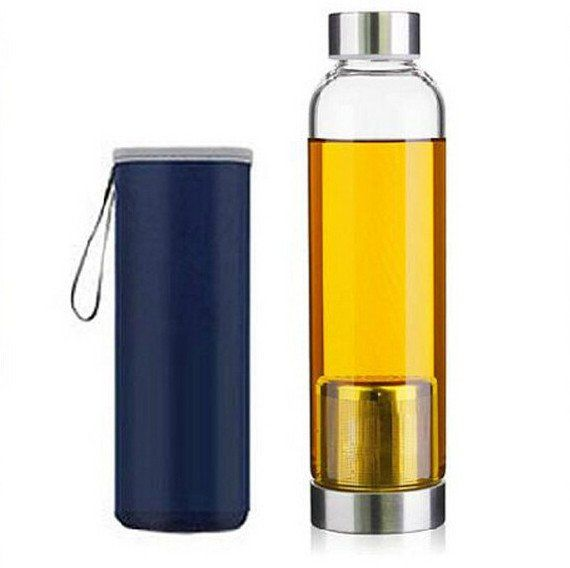 18oz Glass Water Bottle with Tea Infuser and Colorful Thermal Sleeve - choose your favorite color!
