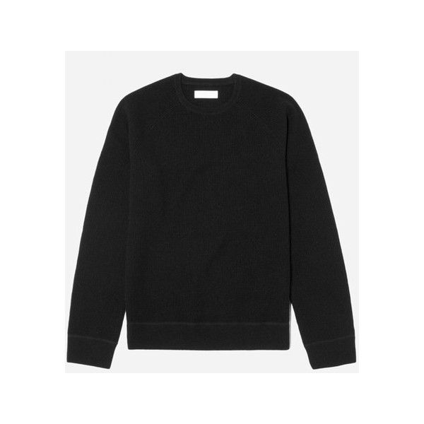 Everlane Waffle-Knit Cashmere Crew Sweater ($145) ❤ liked on Polyvore featuring men's fashion, men's clothing, men's sweaters, black, mens crewneck sweaters, american eagle mens sweaters, mens cashmere sweaters and mens crew neck sweaters