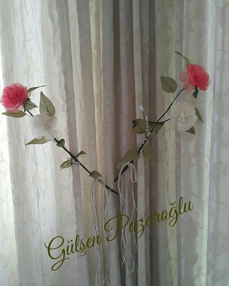 Perde bağı süslemesi Çiçeği