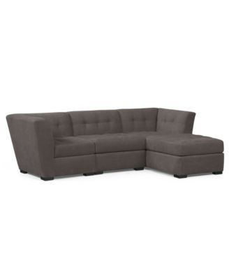 Roxanne Fabric Modular Sectional Sofa, 3 Piece (Square Corner Unit, Armless Chair and Chaise)
