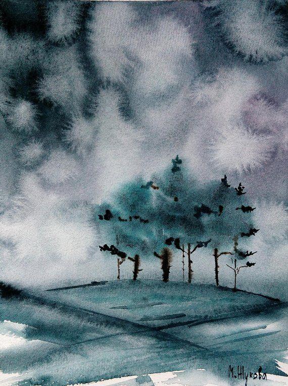 Aquarelle Paysage Brouillard Paysage Gris D Hiver Peinture