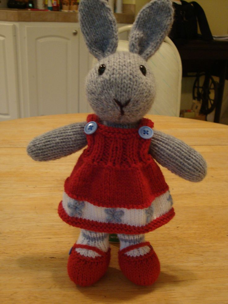 Bunty Bunny... knitted toy rabbit doll-- pattern by Debi Birkin, knitted by me.