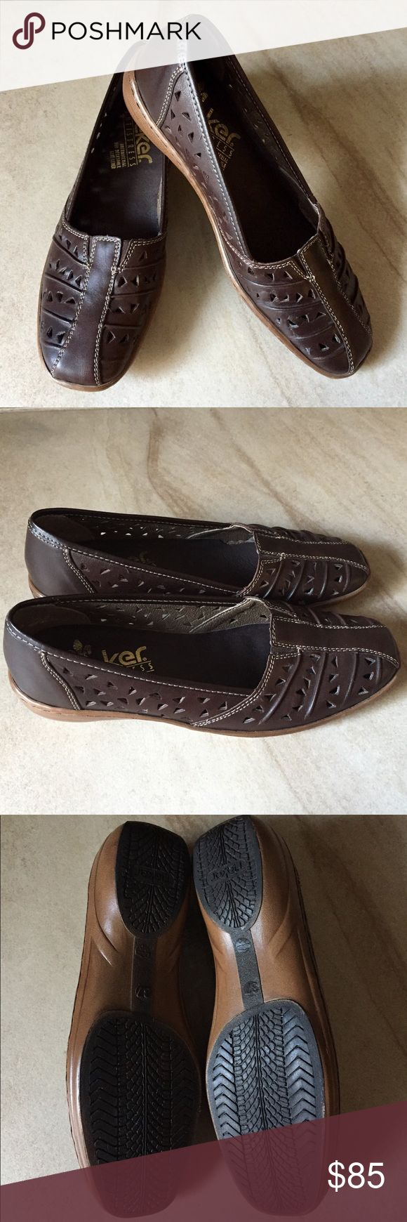 Rieker Anti-Stress Women's Shoe You need these on your feet NOW! Extremely comfortable slip-on shoes in excellent condition. Perforated design in chocolate brown color with white-stitching. Shock-absorbing soles are a complimentary caramel color. Rieker Antistress Shoes Flats & Loafers