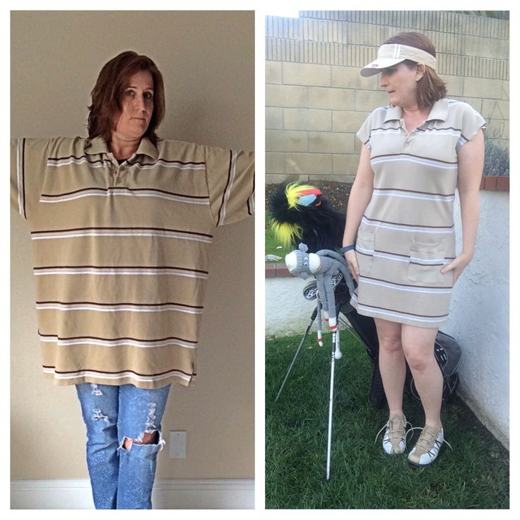 Men's XXL polo shirt refashioned into a golf dress.