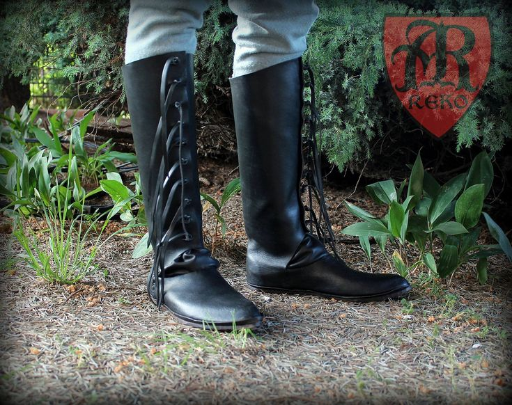 High shoes medieval 15 th century.  Leather with nails. Historical reenactment Hand Made by Pracownia REKO