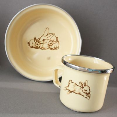 Bunny Enamelware  Yellow Bowl & Cup Set