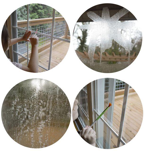 Mit einer einfachen Salzwasserlösung lassen sich wunderbare Eiskristalle ans Fenster zaubern.       Was man dazu benötigt:     eine kl...