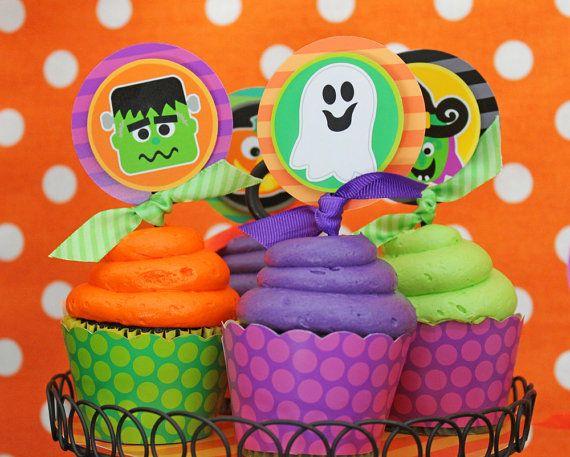 Halloween!: Halloween Parties, Cute Cupcakes, Schools Parties, Memorizing Halloween, Theme Cupcakes, Cupcakes Toppers, Parties Printable, Halloween Cupcakes, Bold Colors