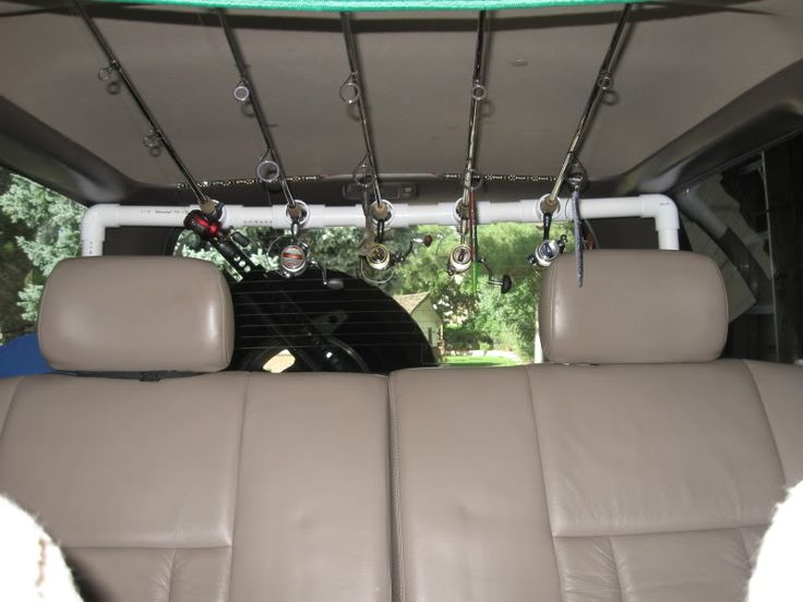 Suv home made rod holder expedition portal bal k for Fishing pole holder for car