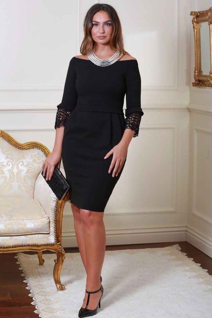 Uma Black Tulip Midi Dress with Lace Sleeves