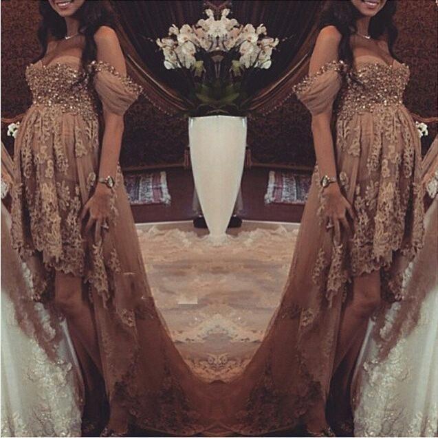 Hot Hi Lo Pregnant woman Evening Dresse 2015 ALine Off Shoulder Applique Beads Myriam Fares Celebrity Prom Gowns maternity dress