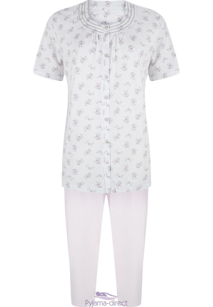 A pretty Pastunette short sleeved 'Make A Wish' cotton full button white pyjama with little 'wishy'flowers all over and 3/4 pale pink pants.