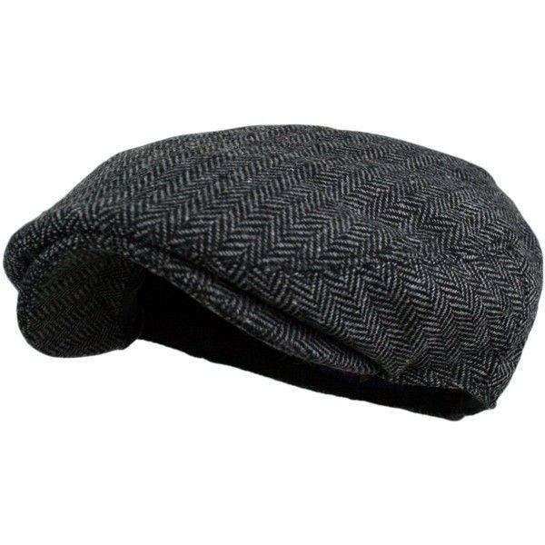 Men's Herringbone Tweed Wool Blend Snap Front Newsboy Hat (€5,66) ❤ liked on Polyvore featuring men's fashion, men's accessories, men's hats, mens newsboy hat, mens newsboy cap and mens hats
