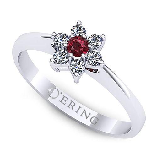 Inel de logodna cu rubin si diamante